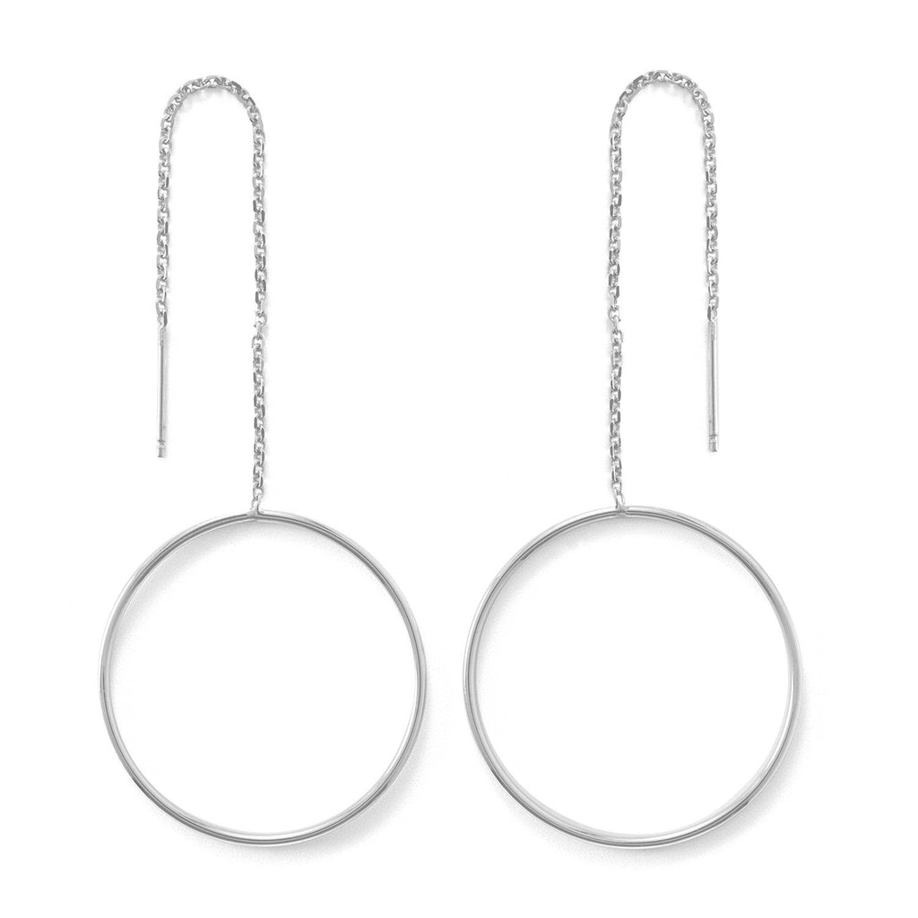 Rhodium Plated Open Circle Threader Earrings
