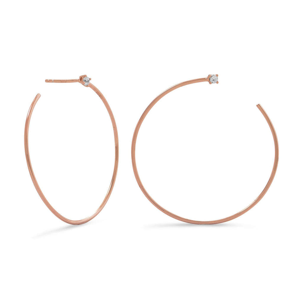 14 Karat Rose Gold Plated Lateral 3/4 Hoops with Single CZ