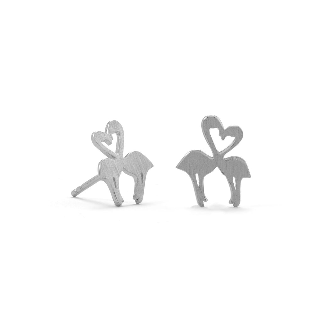 Rhodium Plated Kissing Flamingo Studs