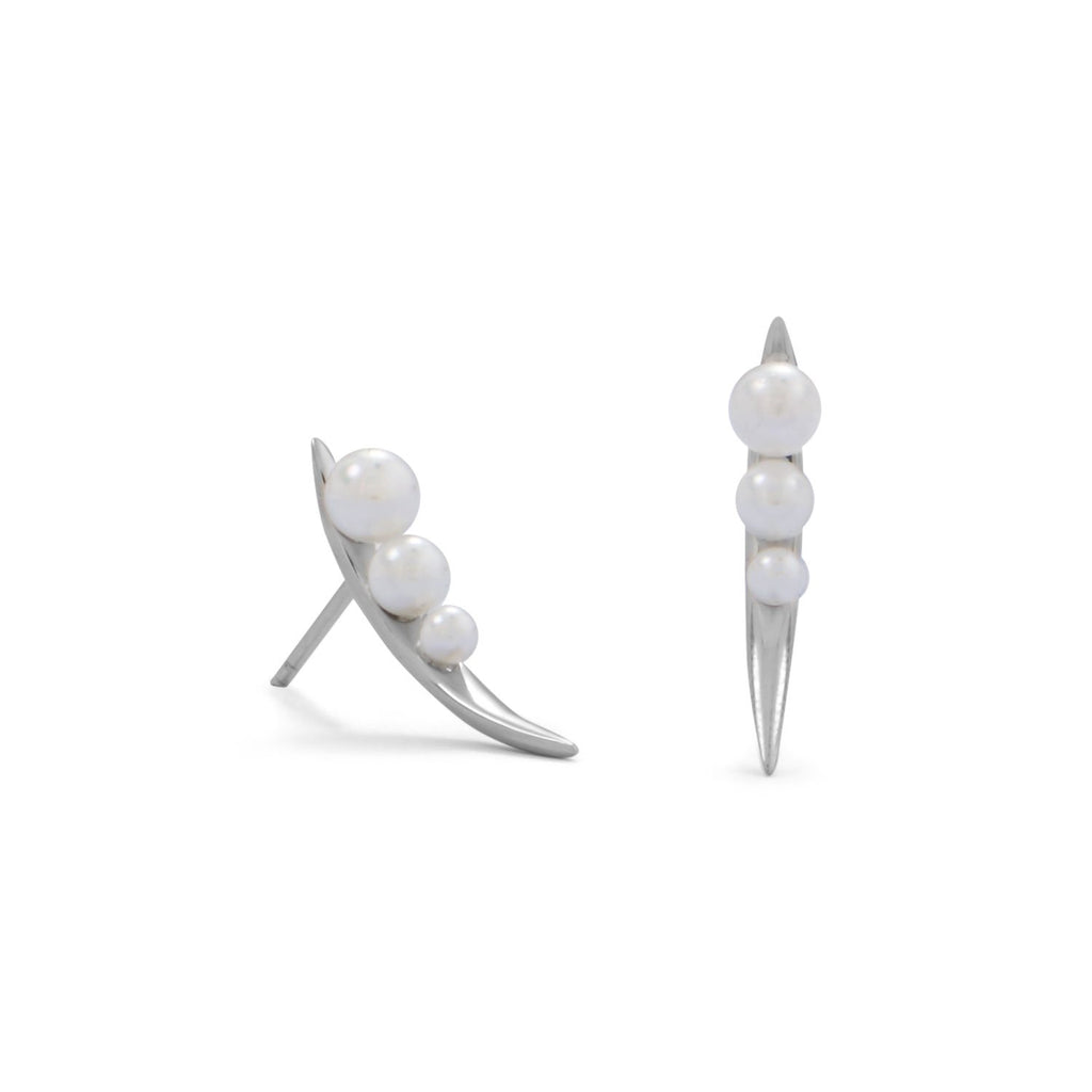 Rhodium Plated Snow Pea Imitation Pearl Studs