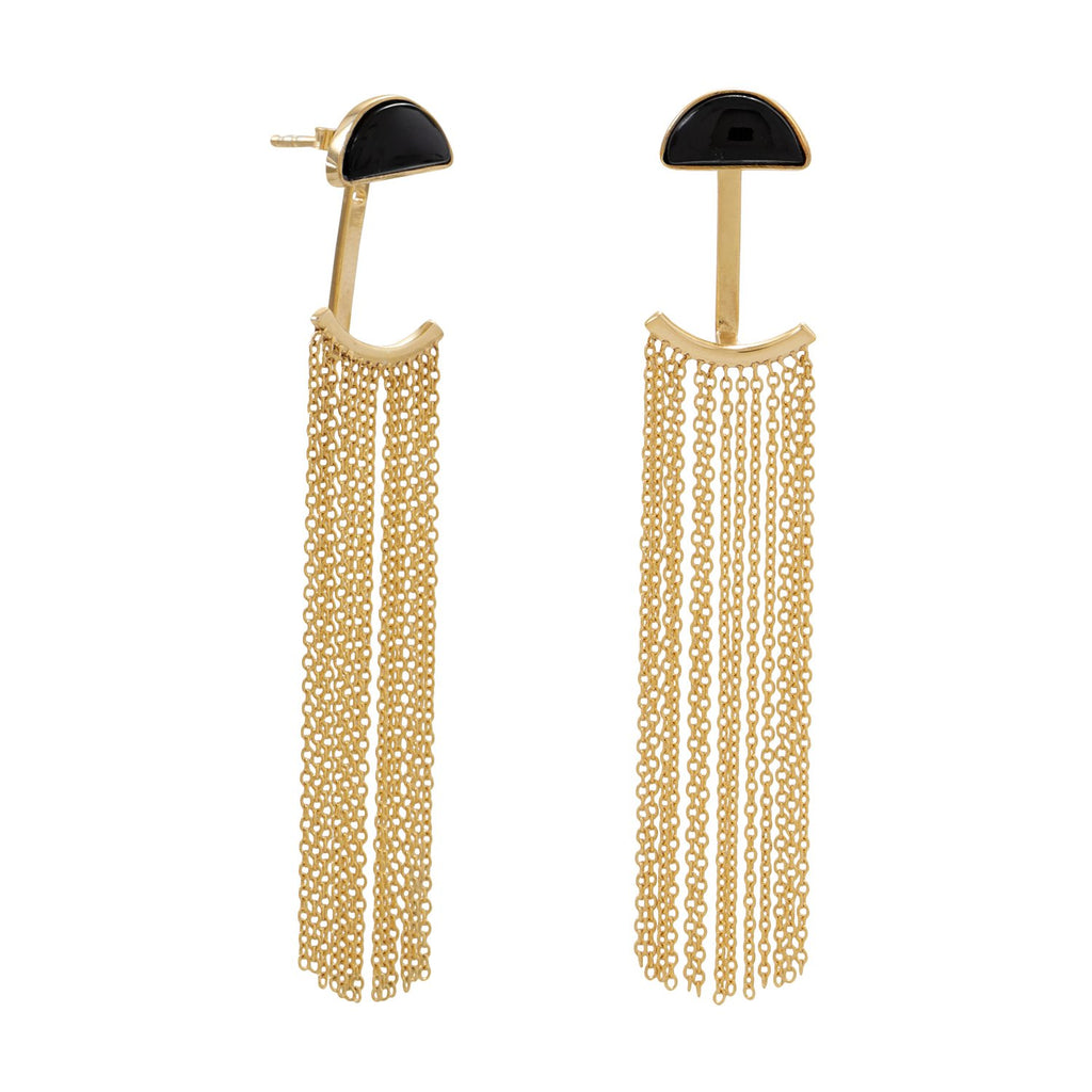14 Karat Gold Plated Black Onyx and Fringe Front Back Earrings
