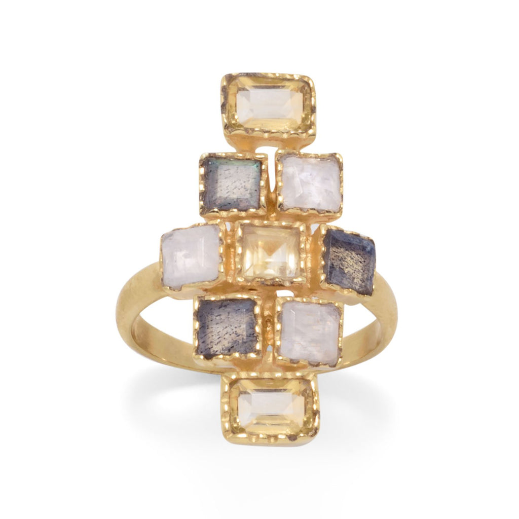 14 Karat Gold Plated Citrine, Labradorite, and Moonstone Checkered Ring