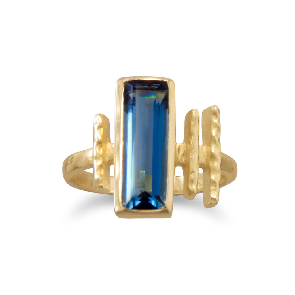 14 Karat Gold Plated Blue Hydro Glass Ring