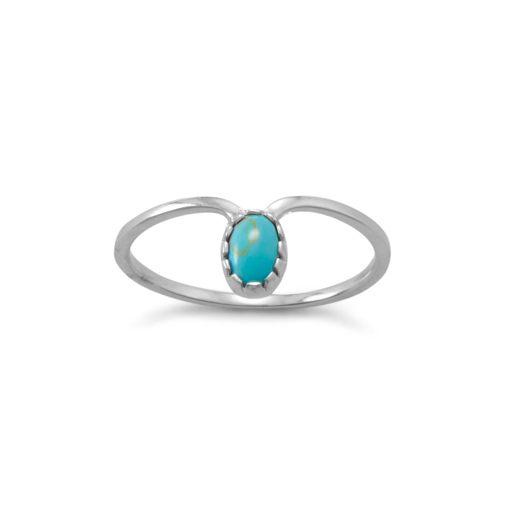 Rhodium Plated Turquoise Drop Ring