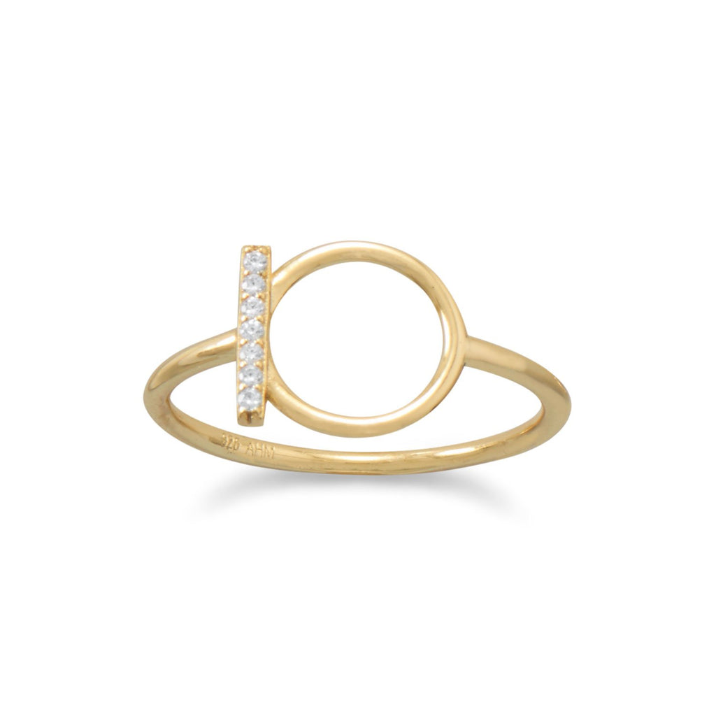 18 Karat Gold Plated CZ Bar and Circle Ring