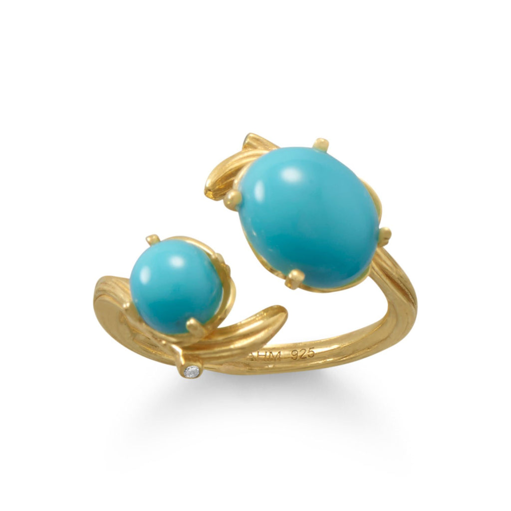 14 Karat Gold Plated Decorative Branch and Turquoise Split Ring