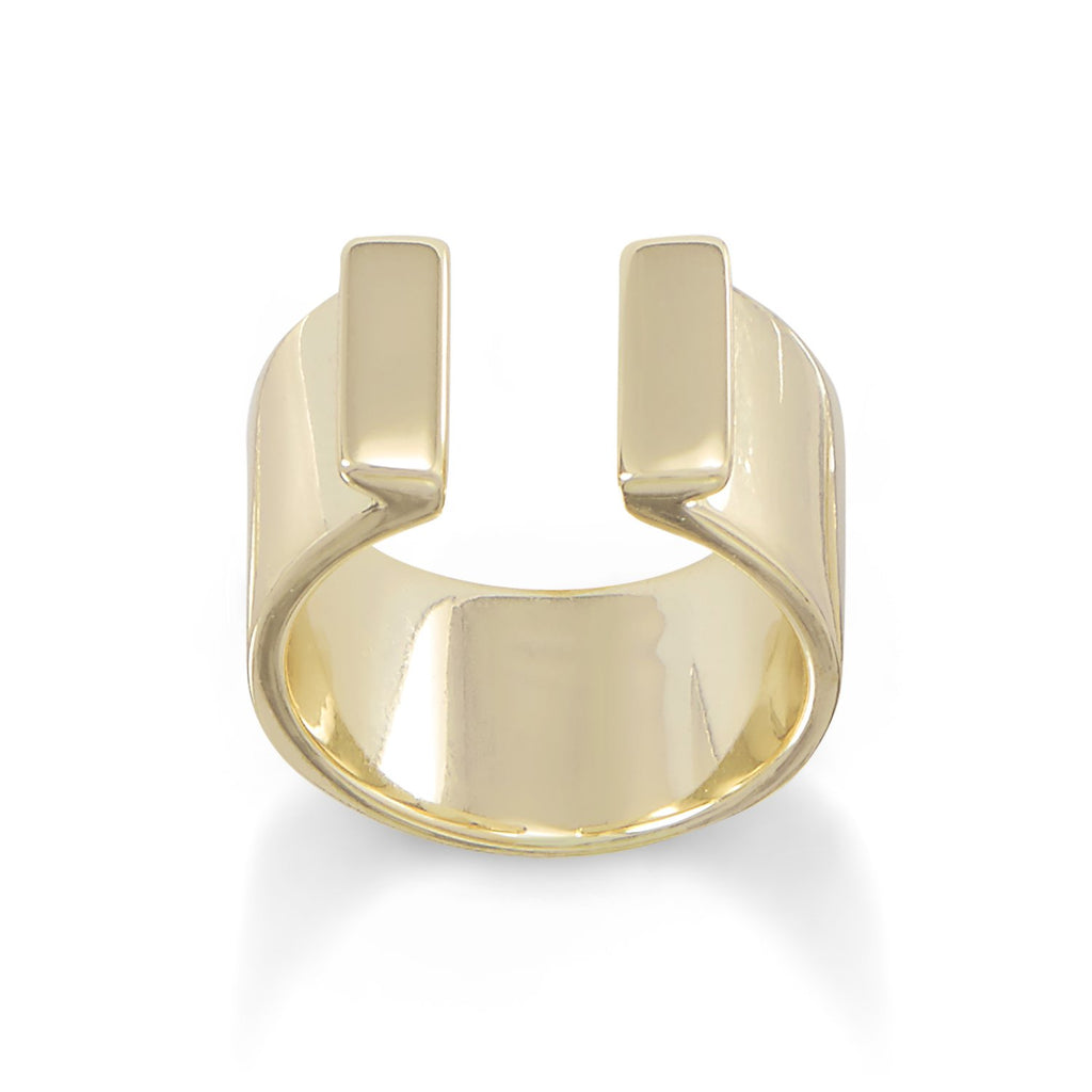 14 Karat Gold Plated Thick Split Bar Ring
