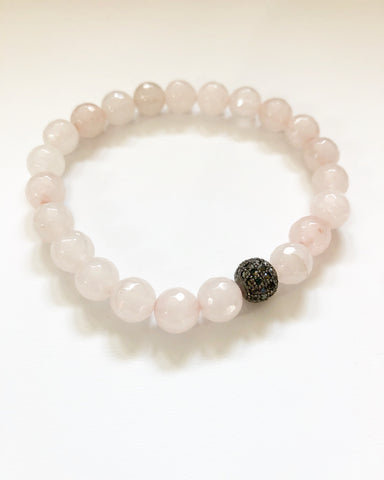 Rose Quartz + Onyx  Beaded Bracelet