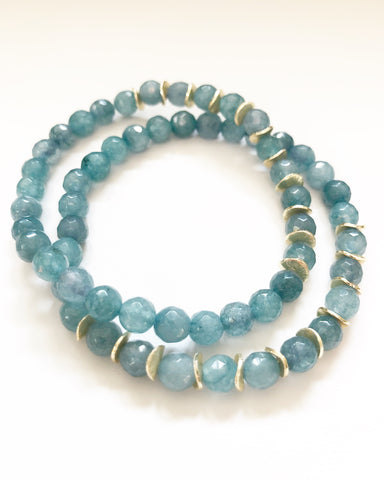 Smokey Blue Agate + Gold Chips Beaded Bracelet