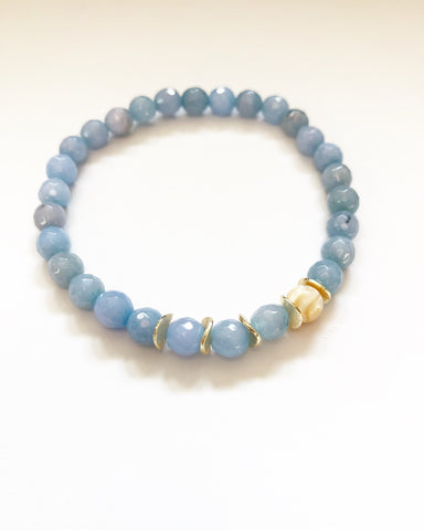 Aquamarine + Gold Chips + Opal Stone Beaded Bracelet