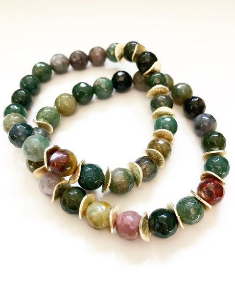 Jade + Amber + Gold Chips Beaded Bracelet