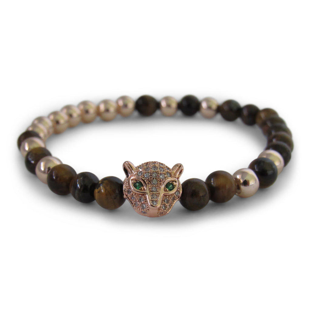 Tiger's Eye and Gold Panther Bracelet