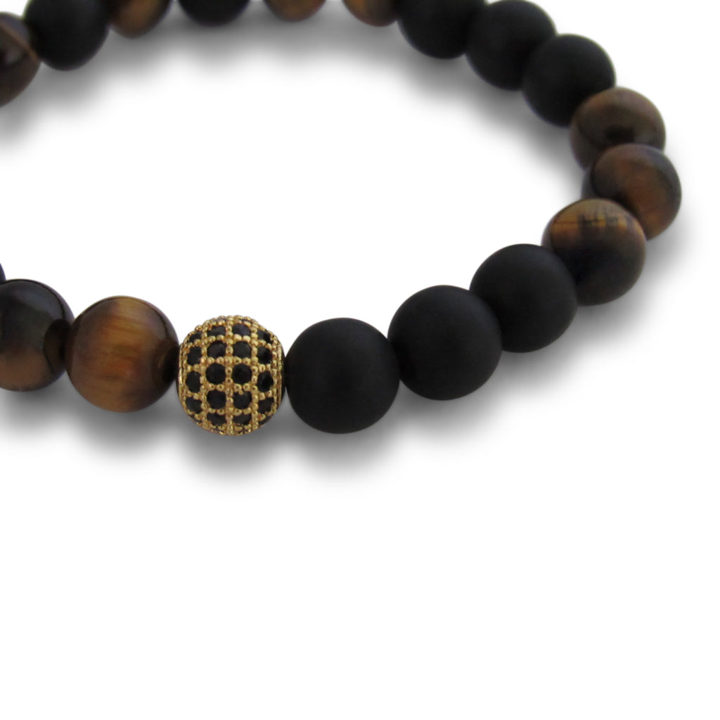 Onyx + Tigers Eye, Gold Cage Beaded Bracelet