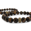 Tigers Eye + Gold Cage Beaded Bracelet