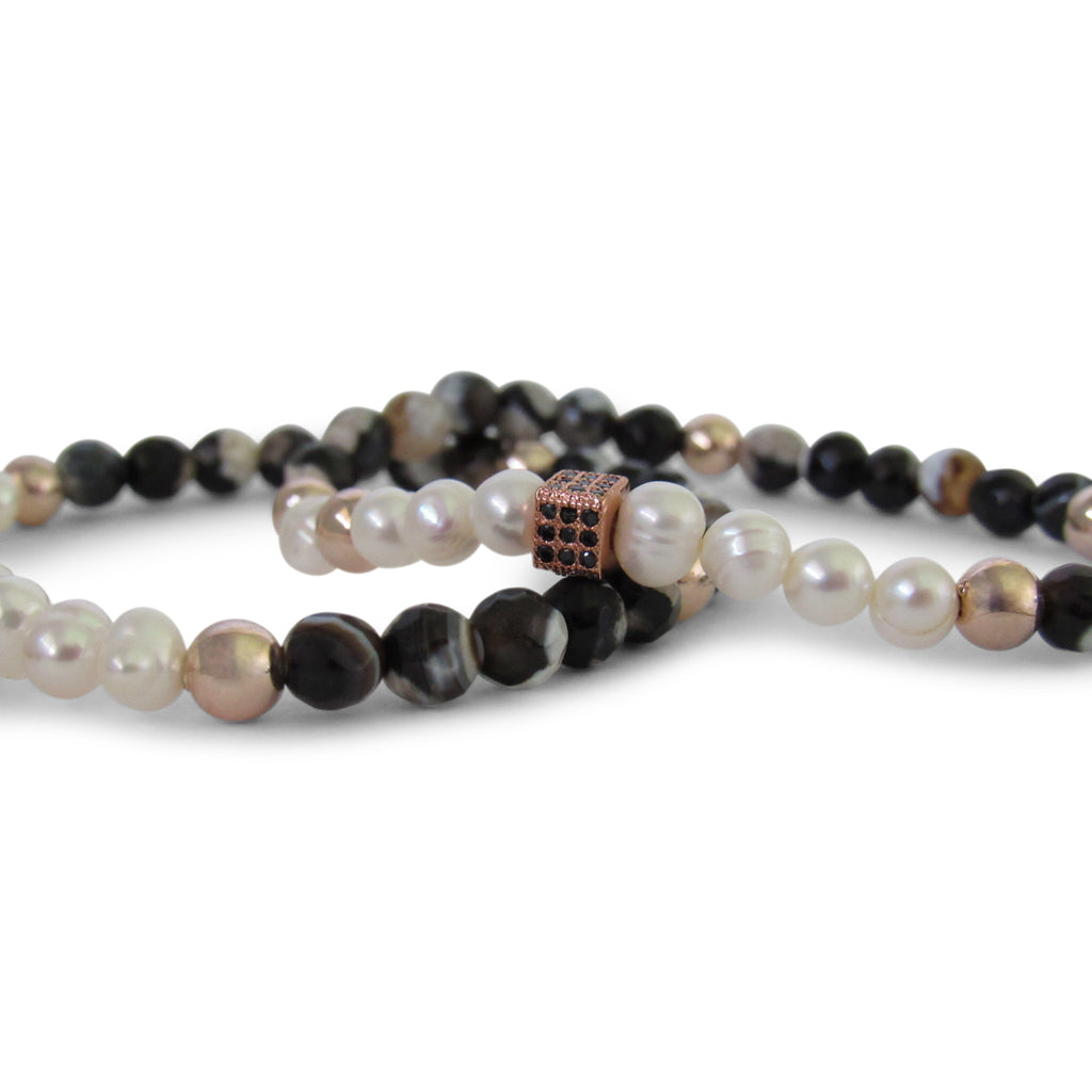 Fresh Water Pearl + Black Marble Pearl, Rose Gold Cage Beaded Bracelet