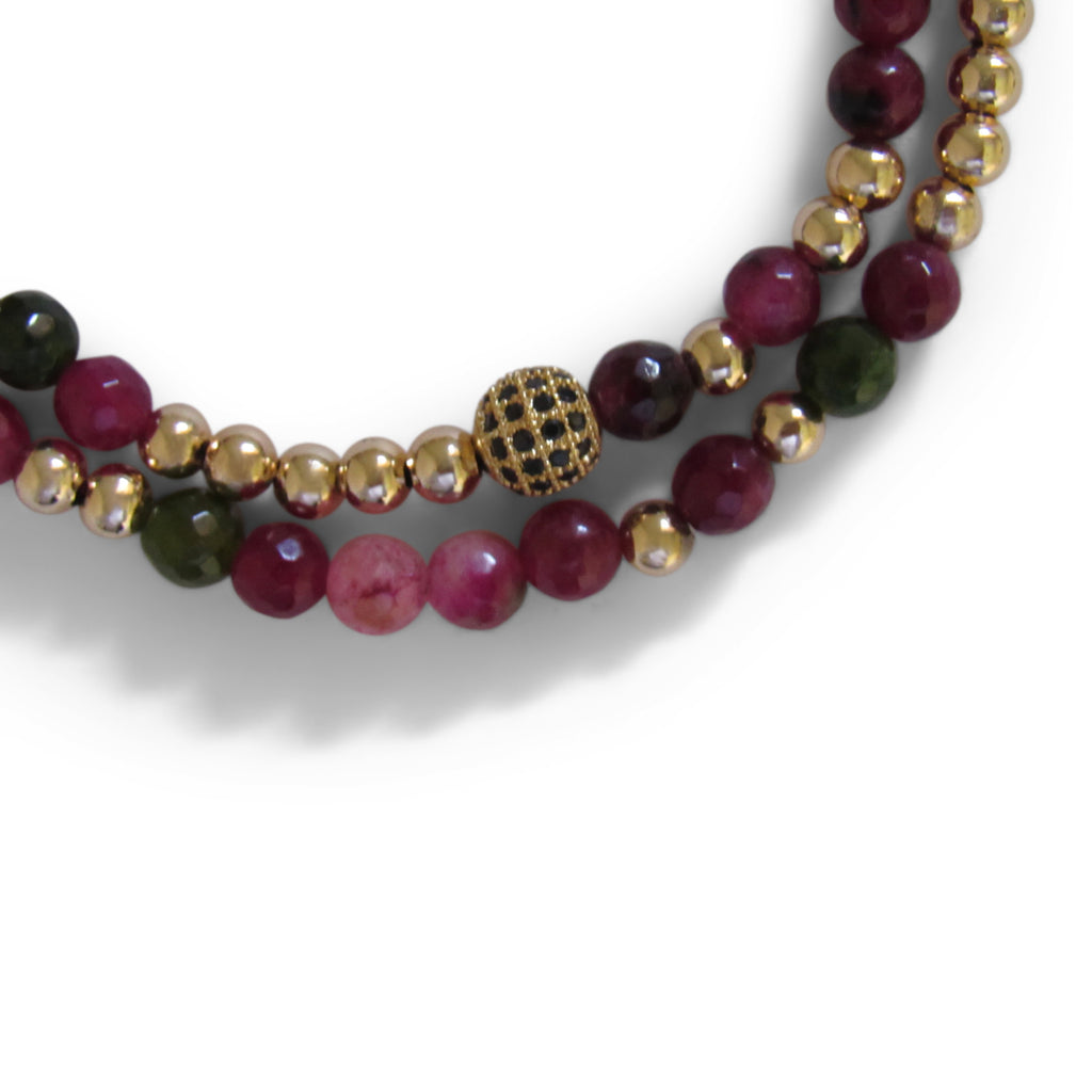 Berry Quartz + Gold Ball + Gold Cage Beaded Wrap Bracelet