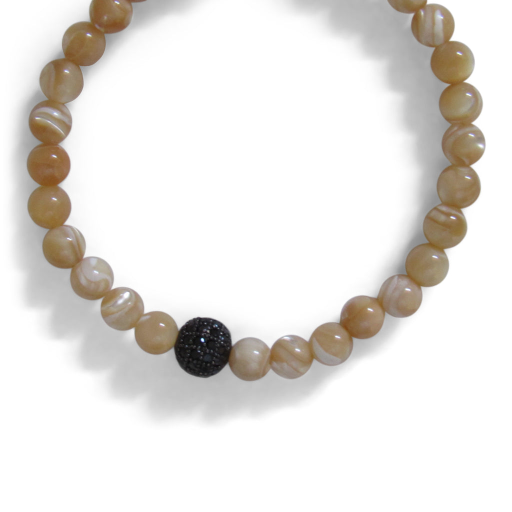 Taupe Marble Pearl + Black Platinum Cage Beaded Bracelet