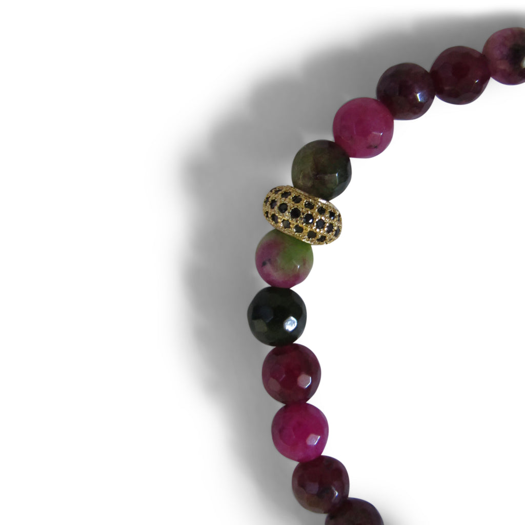 Berry Quartz + Gold Cage Beaded Bracelet