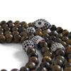 Tigers Eye + Silver Hamsa + Silver Cage Beaded Wrap Necklace