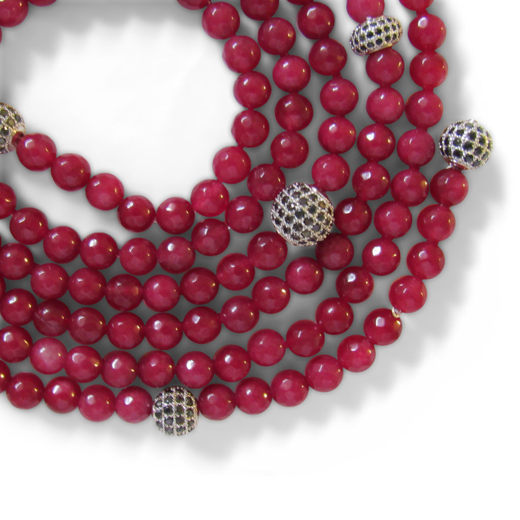 Currant + Silver Cage Beaded Wrap Necklace