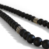 Black Onyx + Silver Cage Beaded Necklace