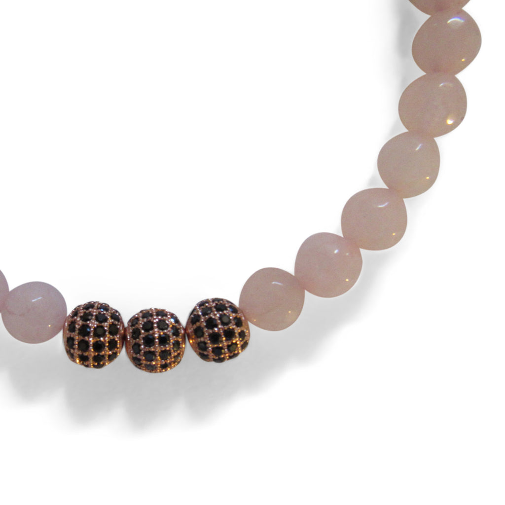 Rose Quartz + Rose Gold Cage Beaded Necklace