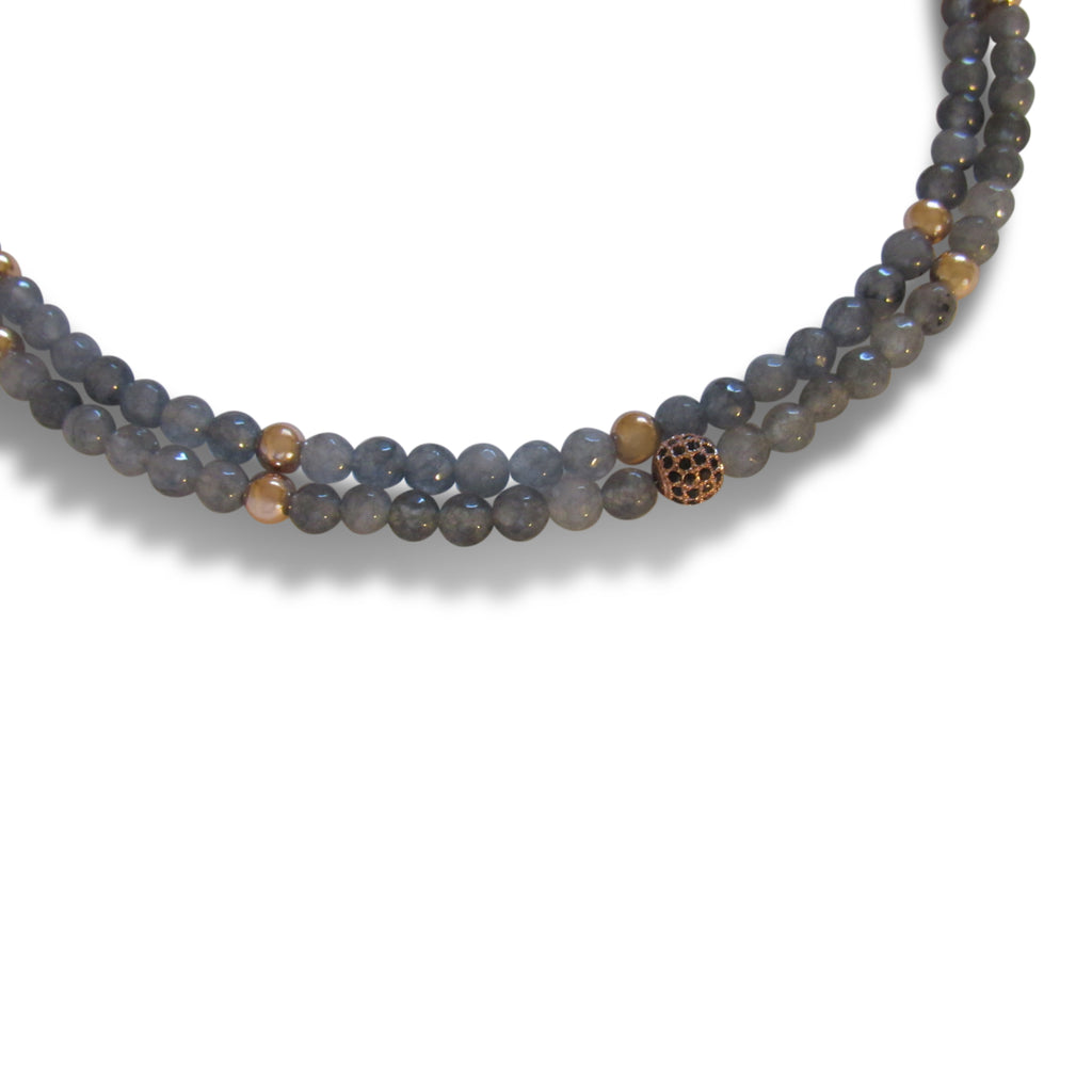 Grey Opal + Gold Ball + Rose Gold Cage Double Strand Beaded Necklace
