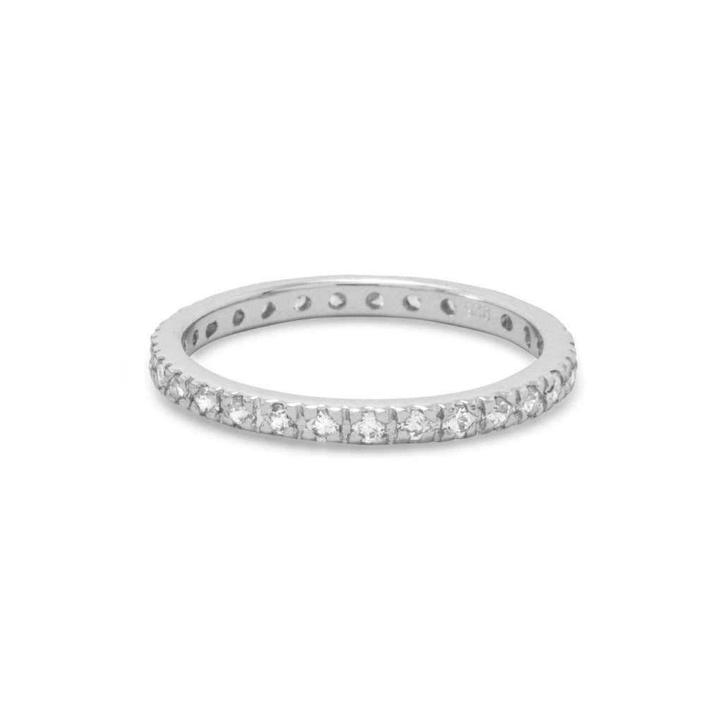 Rhodium Plated CZ Eternity Ring