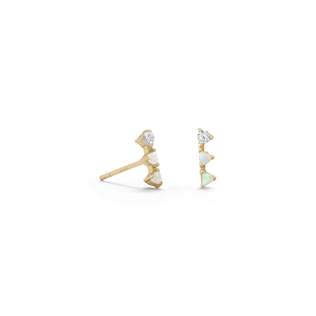 14 Karat Gold Plated Mini Triangle Synthetic White Opal and CZ Studs