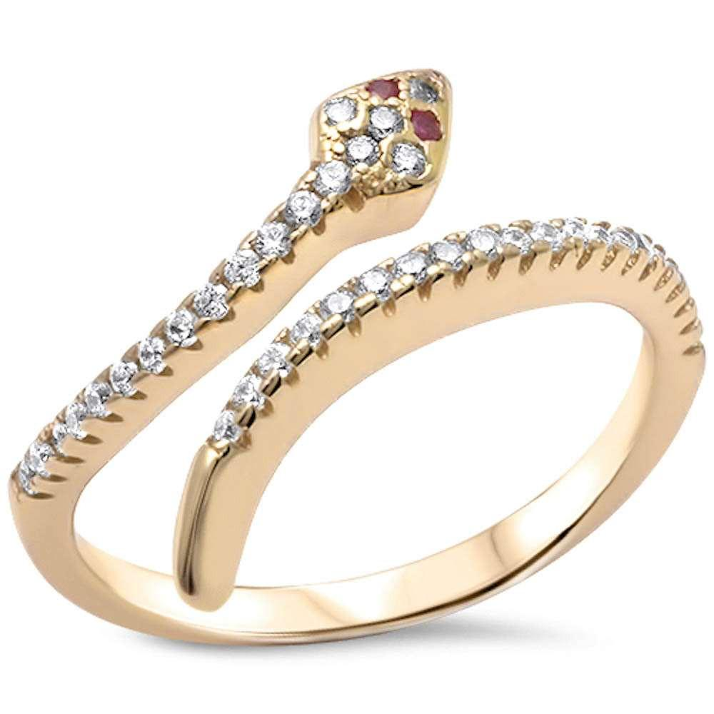 14K GOLD PLATED RUBY EYE SNAKE