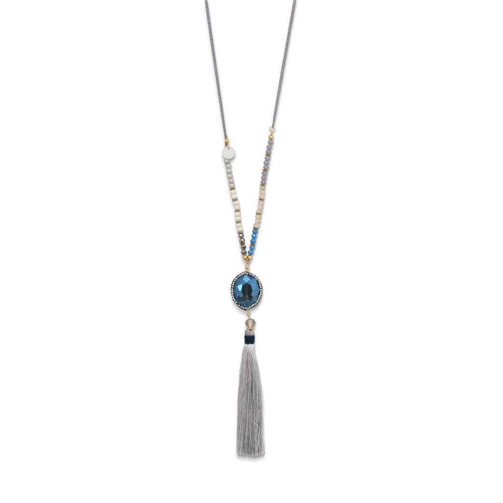 Crystal, Glass, Howlite, Shell, and Tassel Fashion Necklace