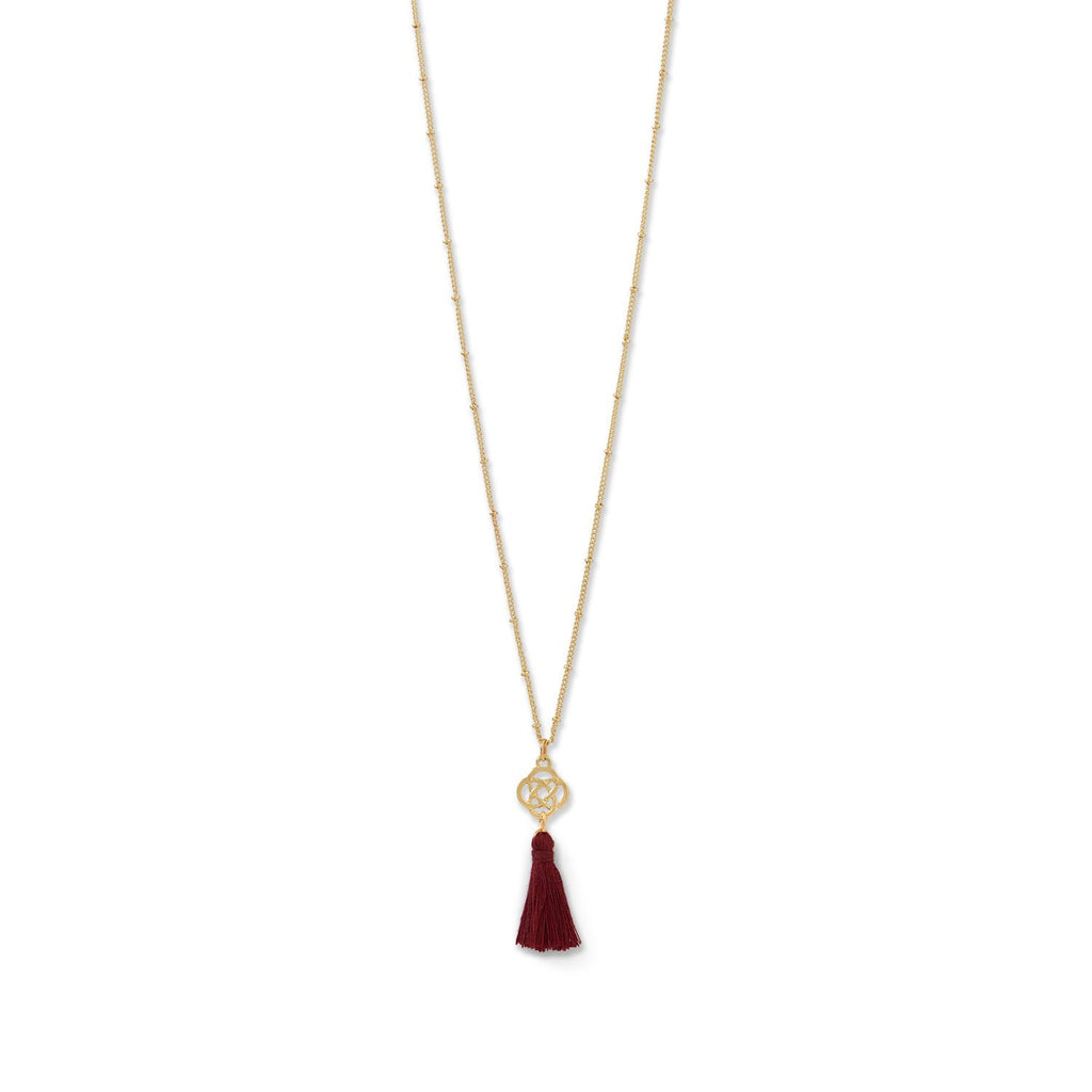 Gold Tone Plated Brass Burgundy Tassel Necklace