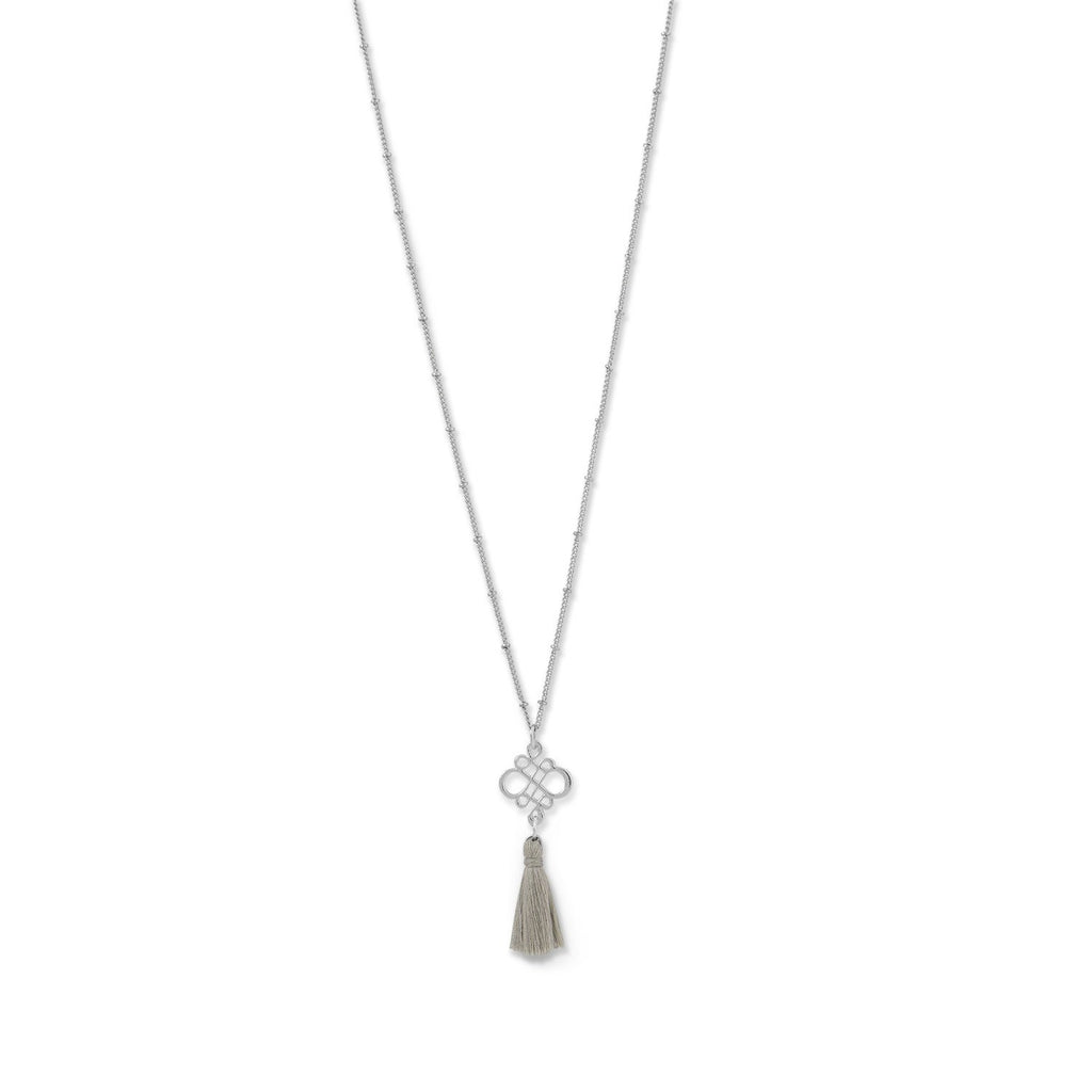 Silver Tone Plated Brass Tan Tassel Necklace