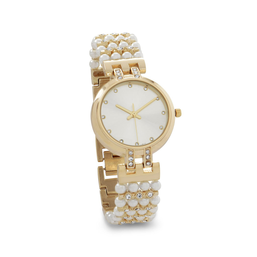 Fancy Gold Tone and Imitation Pearl Watch