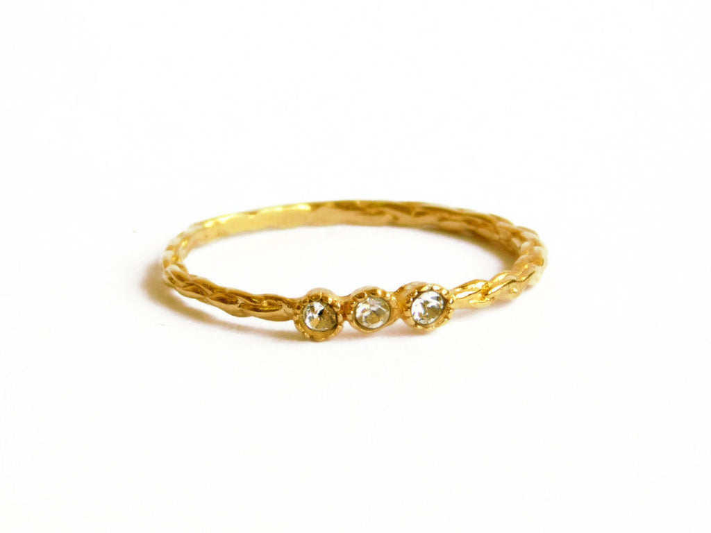 14 KARAT GOLD PLATED, 3 STONE CZ STACKING RING
