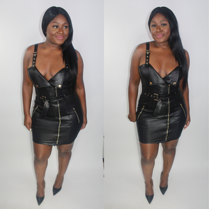 'VIRAL' LEATHERETTE BODY-CON DRESS - LARGE
