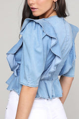 DENIM RUFFLED CROP TOP
