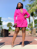 FUCHSIA BLAZER DRESS - Moz Glam