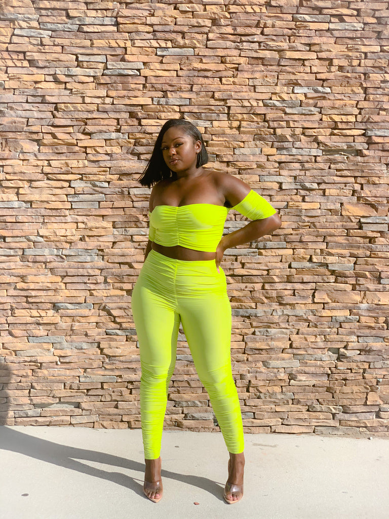 LIME RUCHED PANTS SET
