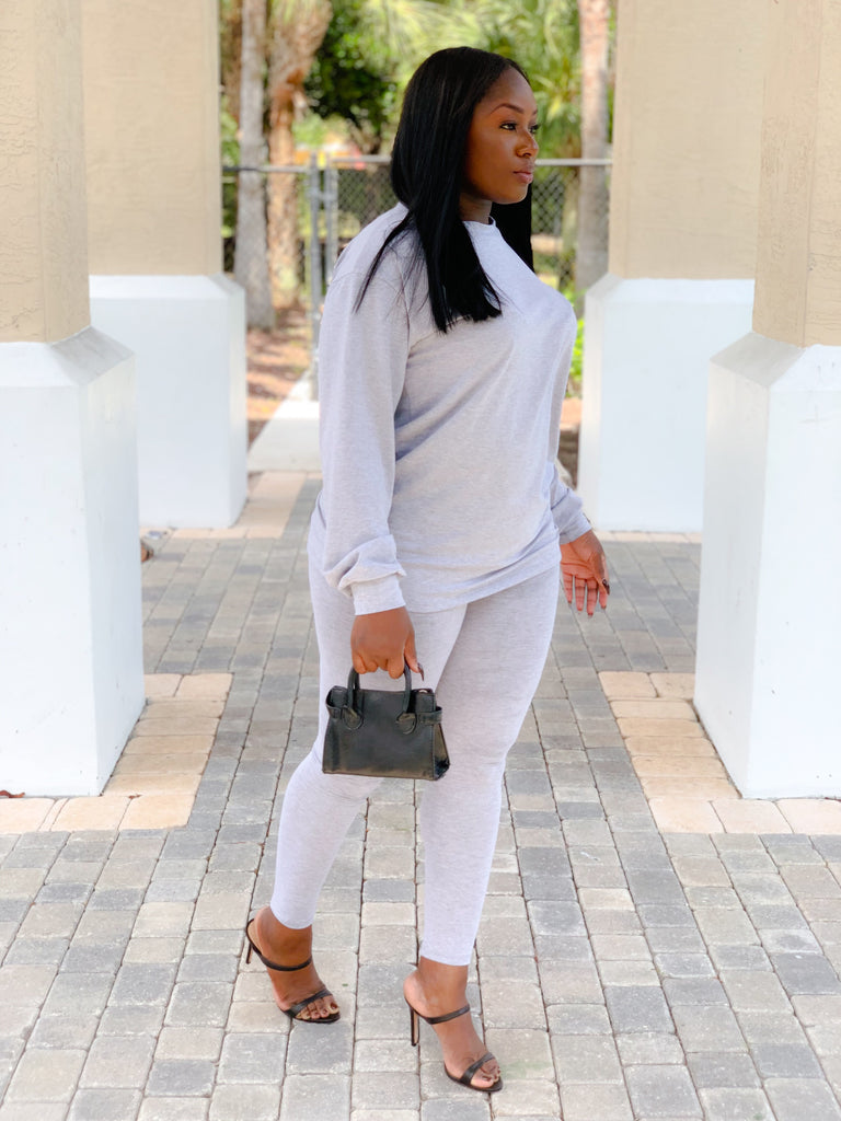 GRAYSCALE LONG SLEEVE PANTS SET - Moz Glam