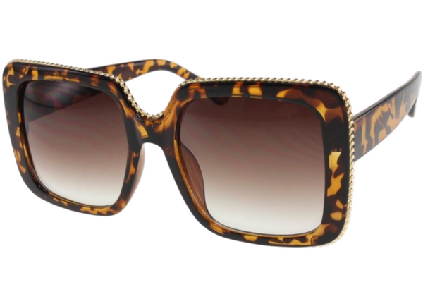 CHIC GOLD TRIM SUNGLASSES (CHEETAH)