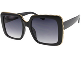CHIC GOLD TRIM SUNGLASSES (BLACK)