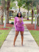 PURPLE V-NECK MINI DRESS