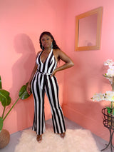 IN VOGUE STRIPED HALTER JUMPSUIT (BLACK) (FINAL SALE)