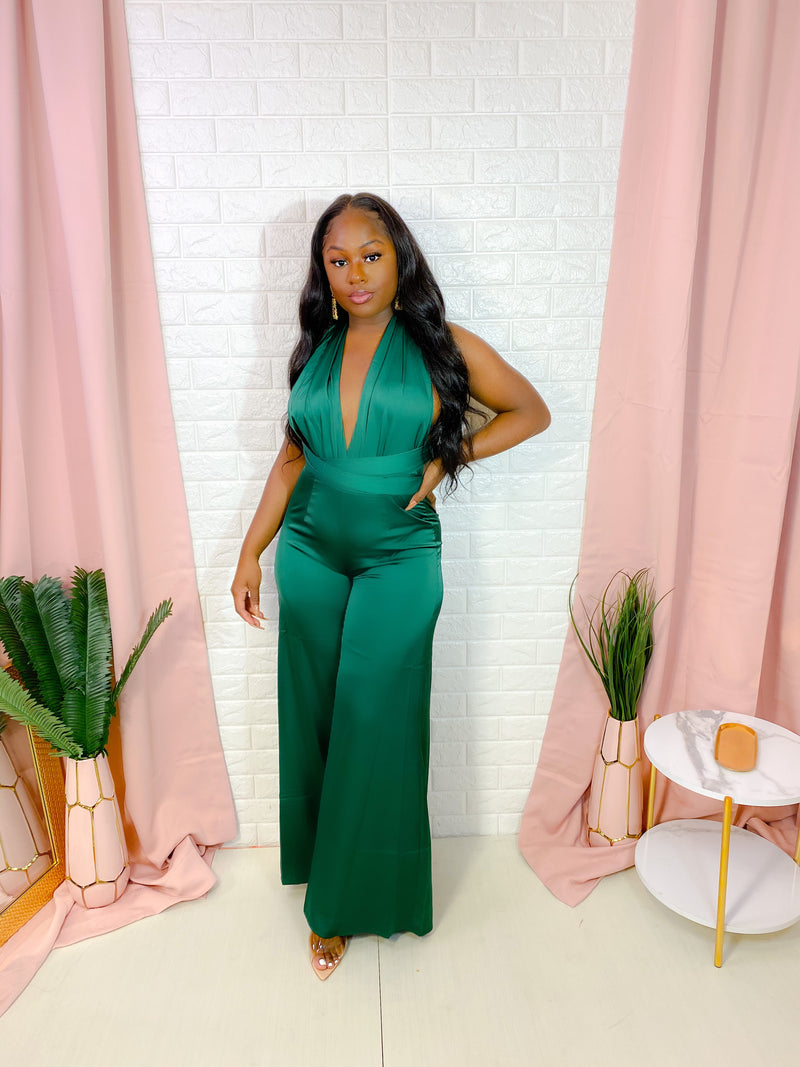 LUXE SATIN BACKLESS JUMPSUIT (GREEN)