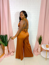 LUXE SATIN BACKLESS JUMPSUIT (RUST)