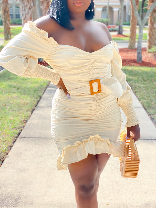LOVE FIRST BELTED MINI DRESS