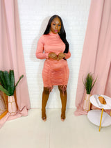 QUEENIN RUCHED LONG SLEEVE KNIT MIDI DRESS (ROSE)