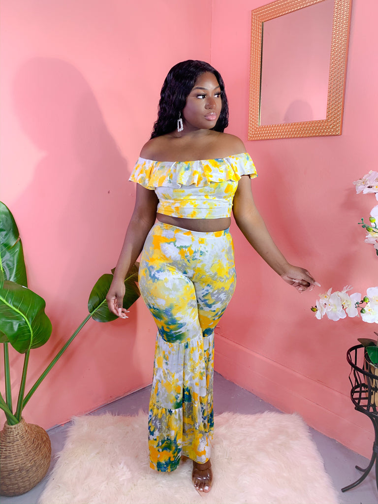 YELLOW TIE-DYE OFF SHOULDER PANTS SET