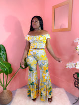 YELLOW TIE-DYE OFF SHOULDER PANTS SET (FINAL SALE)